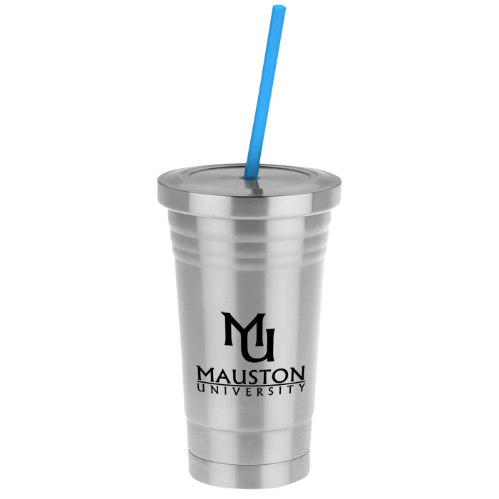 4imprint Com Stainless Steel Tumbler With Colored Straw