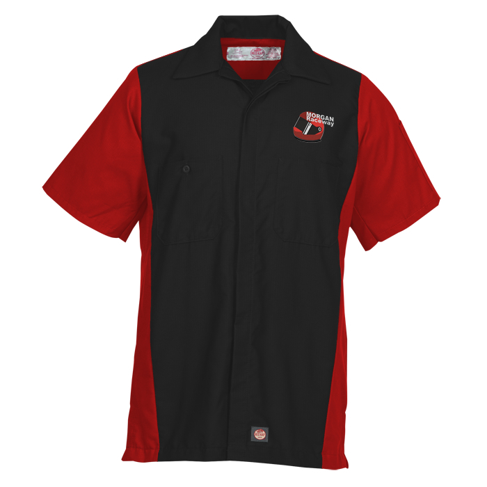 Red kap mechanic crew short sleeve for Mechanic shirts with logo