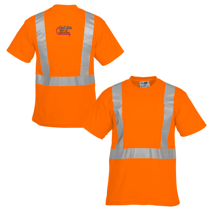 High visibility short sleeve safety t shirt for Safety logo t shirts