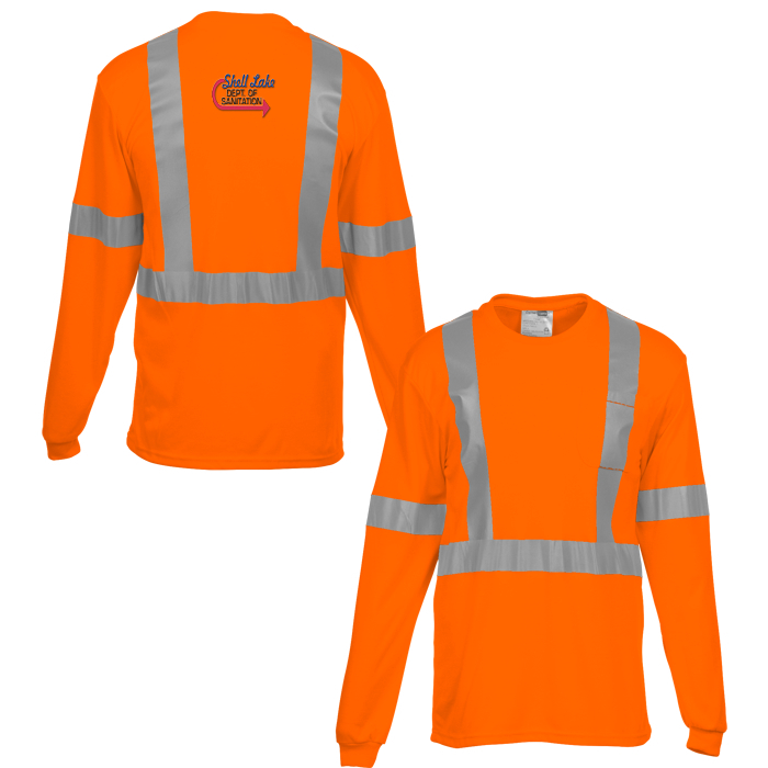 High visibility long sleeve safety t shirt for Safety t shirt logos