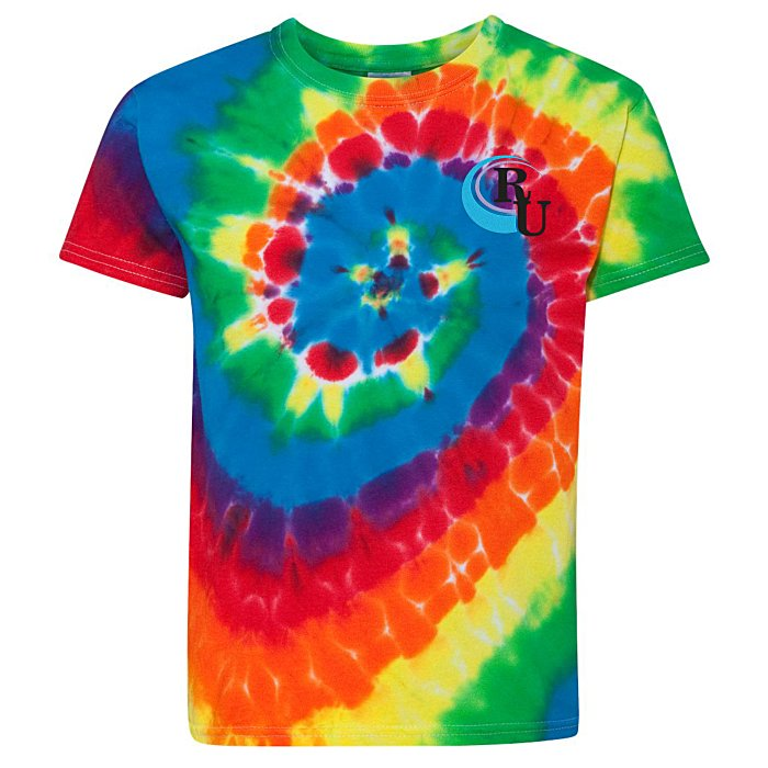 d610b0c09379 4imprint.com: Dyenomite Tie-Dyed Multicolor Spiral -T-Shirt - Youth ...