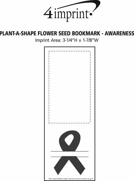 Imprint Area of Plant-A-Shape Flower Seed Bookmark - Awareness