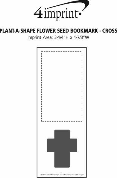 Imprint Area of Plant-A-Shape Flower Seed Bookmark - Cross