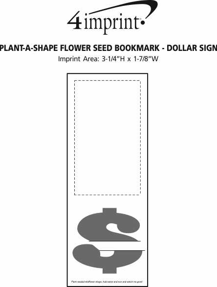 Imprint Area of Plant-A-Shape Flower Seed Bookmark - Dollar Sign