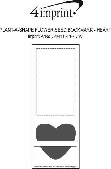 Imprint Area of Plant-A-Shape Flower Seed Bookmark - Heart