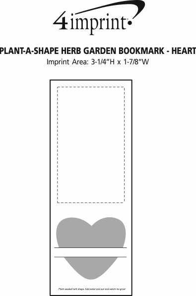 Imprint Area of Plant-A-Shape Herb Garden Bookmark - Heart