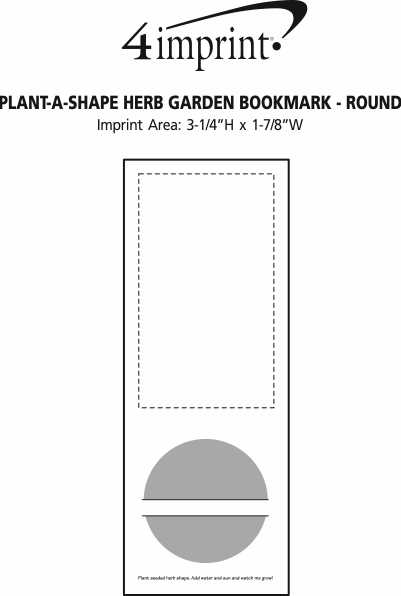 Imprint Area of Plant-A-Shape Herb Garden Bookmark - Round