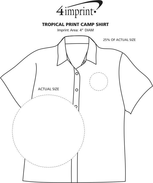 Imprint Area of Tropical Print Camp Shirt