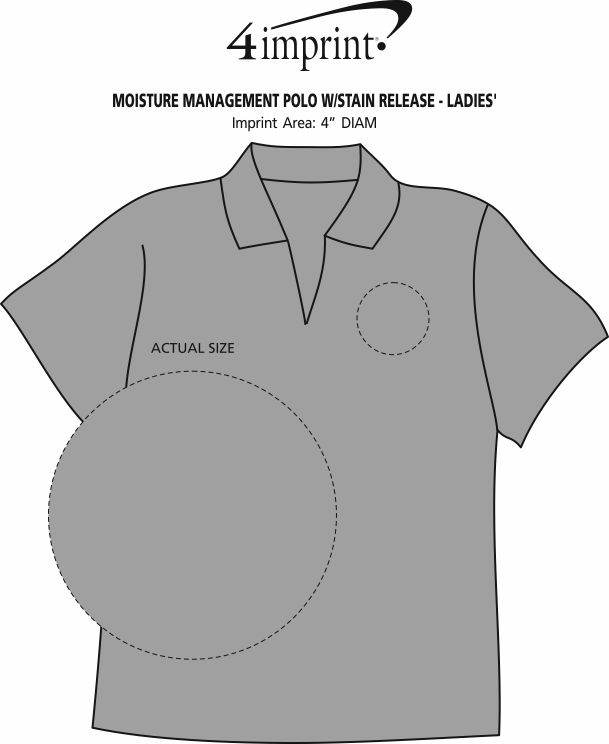 Imprint Area of Moisture Management Polo with Stain Release - Ladies' - Embroidered