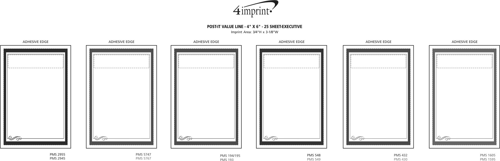 """Imprint Area of Post-it® Notes - 6"""" x 4"""" - Exclusive - Executive - 25 Sheet"""