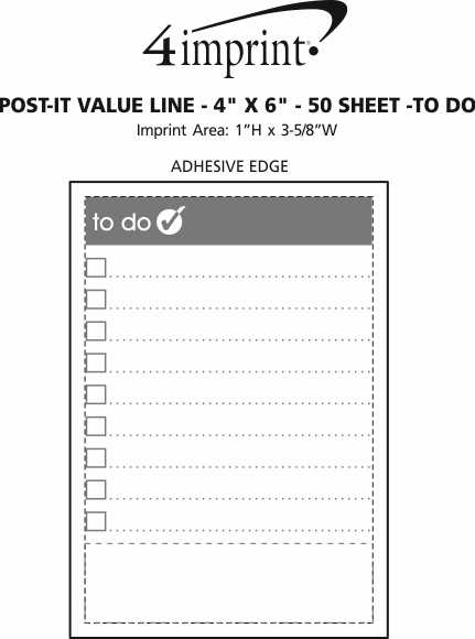 "Imprint Area of Post-it® Notes - 6"" x 4"" - Exclusive - To Do - 50 Sheet"