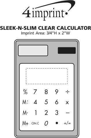 Imprint Area of Sleek-n-Slim Clear Calculator