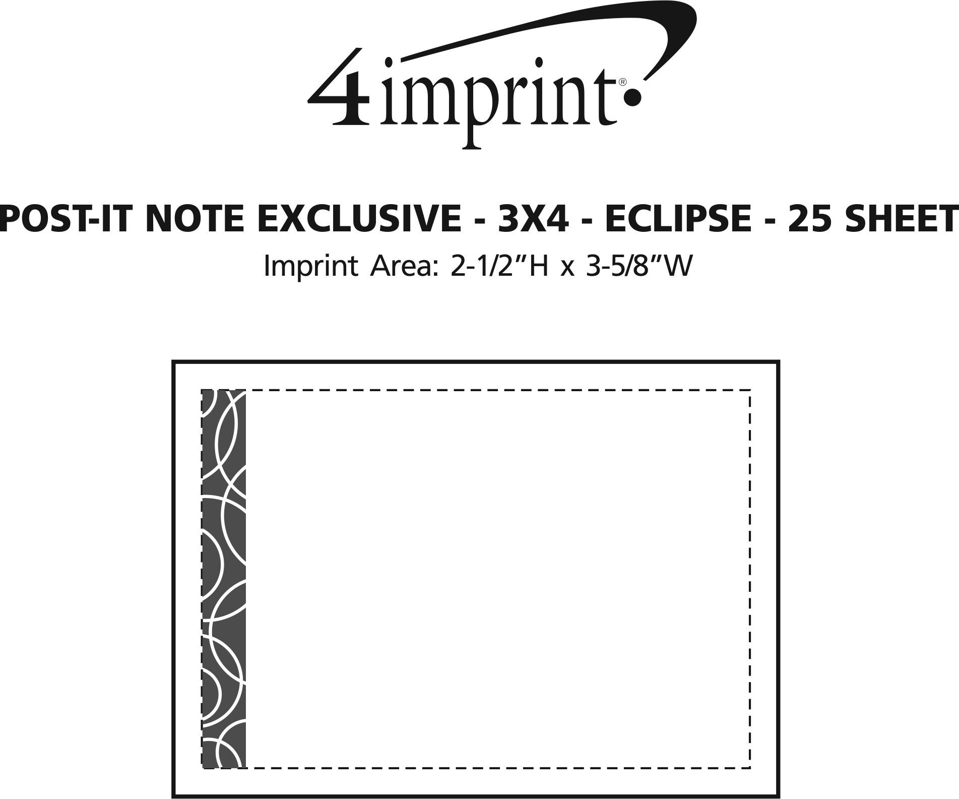 """Imprint Area of Post-it® Notes - 3"""" x 4"""" - Exclusive - Eclipse - 25 Sheet"""