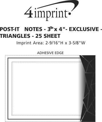 "Imprint Area of Post-it® Notes - 3"" x 4"" - Exclusive - Triangles - 25 Sheet"