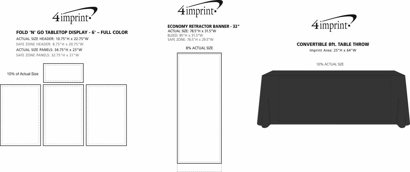 Imprint Area of Fold N Go Tabletop Display - 6' - Full Color - Kit