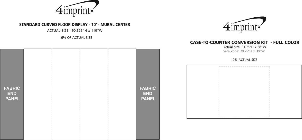 Imprint Area of Standard Curved Floor Display - 10' - Mural Center