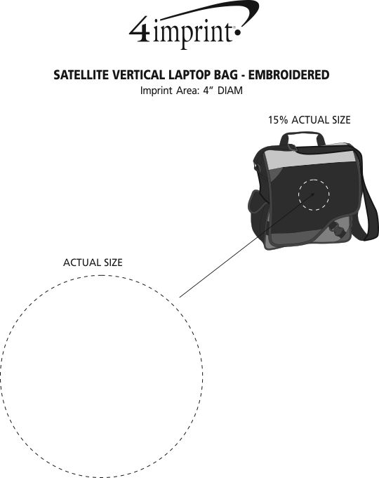 Imprint Area of Satellite Vertical Laptop Bag - Embroidered