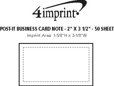 """Imprint Area of Post-it® Business Card Notes - 2"""" x 3-1/2"""" - 50 Sheet"""