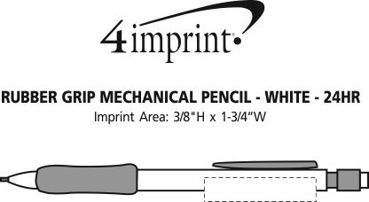 Imprint Area of Rubber Grip Mechanical Pencil - White - 24 hr