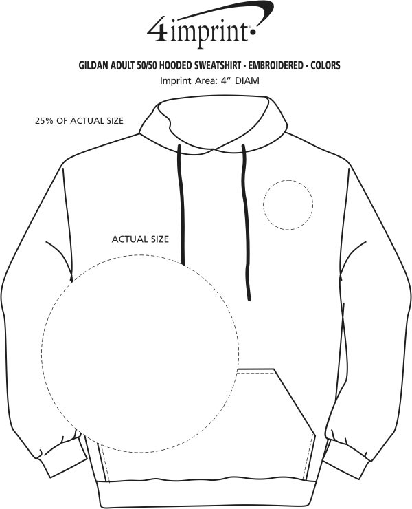 Imprint Area of Gildan 50/50 Hooded Sweatshirt - Embroidered - Colors