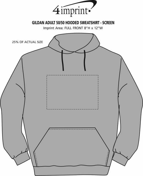Imprint Area of Gildan 50/50 Hooded Sweatshirt - Screen - Colors