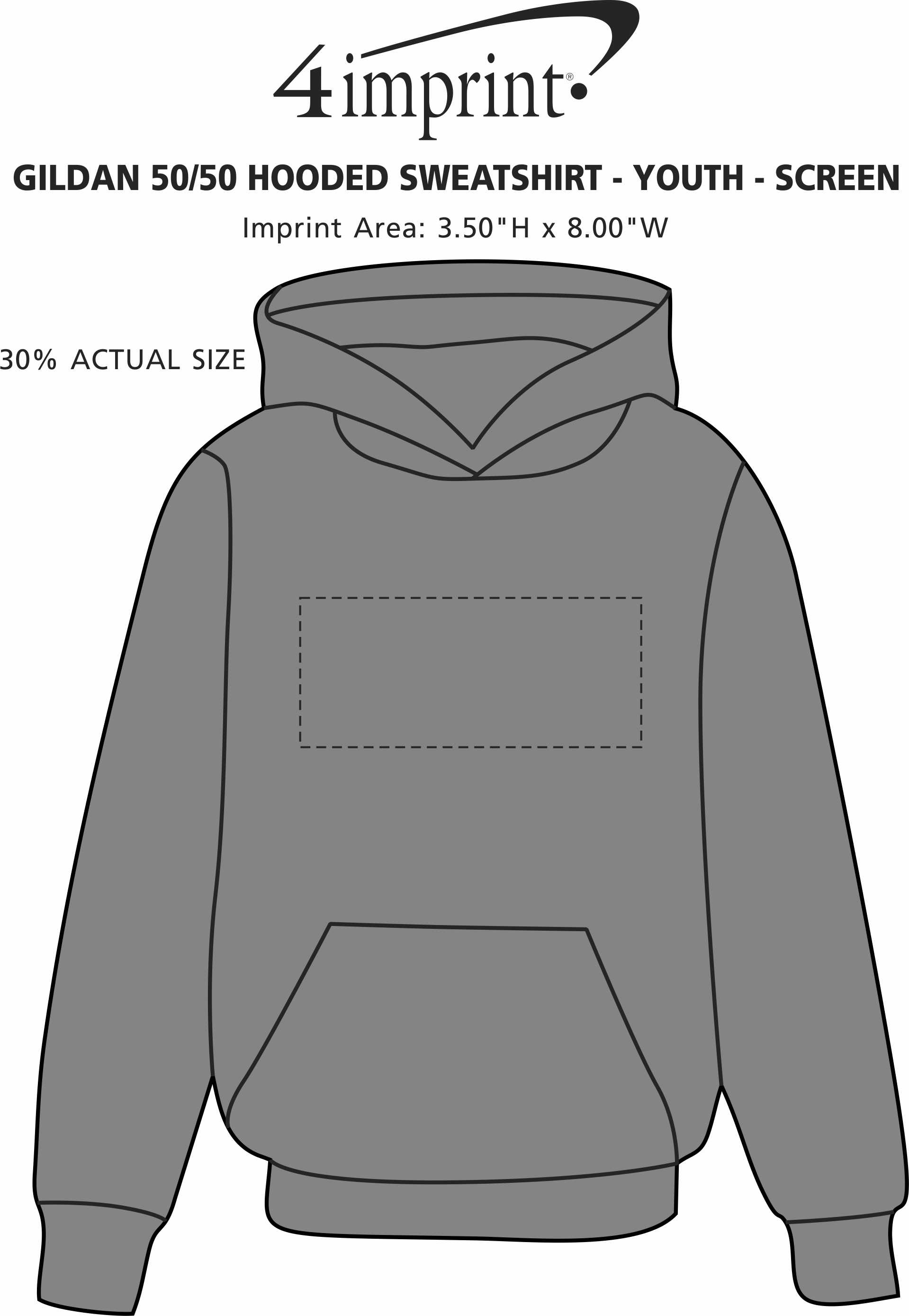 Imprint Area of Gildan 50/50 Hooded Sweatshirt - Youth - Screen