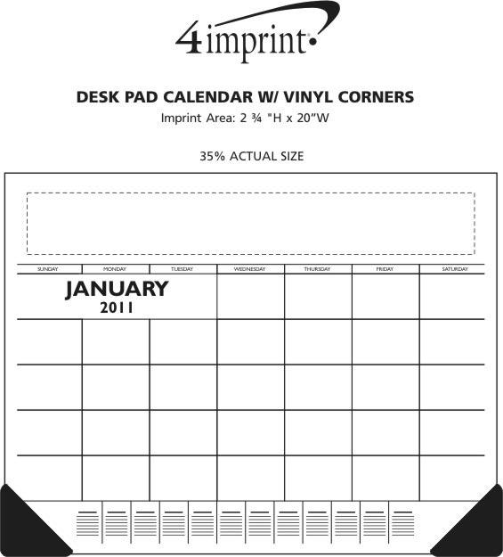 Imprint Area of Desk Pad Calendar with Vinyl Corners