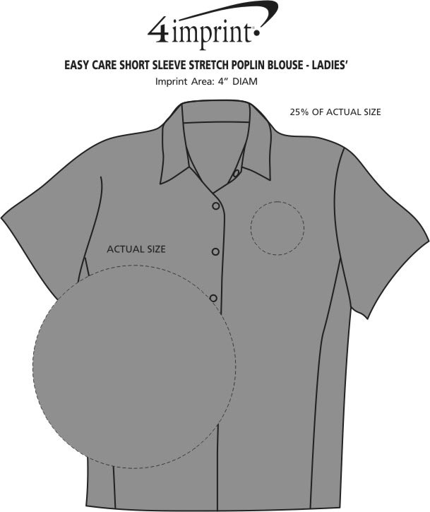 Imprint Area of Easy Care Short Sleeve Stretch Poplin Blouse - Ladies'