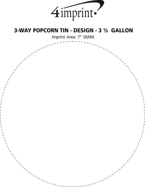 Imprint Area of 3-Way Popcorn Tin - Design - 3-1/2 Gallon