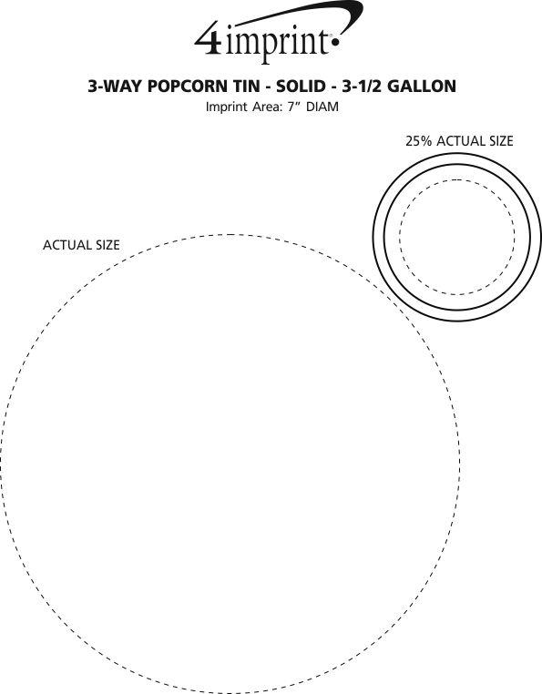 Imprint Area of 3-Way Popcorn Tin - Solid - 3-1/2 Gallon