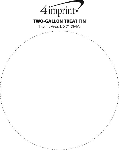 Imprint Area of 6-Way Tin - Solid - 2 Gallon