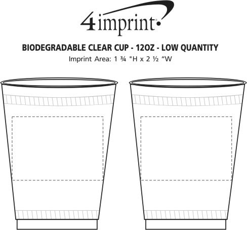 Imprint Area of Compostable Clear Cup - 12 oz. - Low Qty