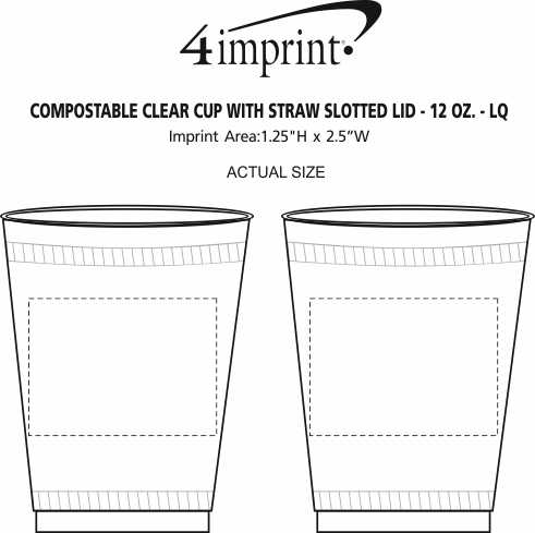 Imprint Area of Compostable Clear Cup with Straw Slotted Lid - 12 oz. - LQ