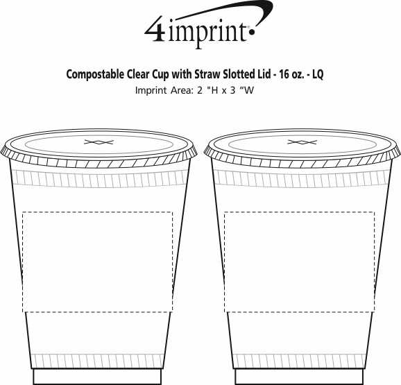 Imprint Area of Compostable Clear Cup with Straw Slotted Lid - 16 oz. - LQ