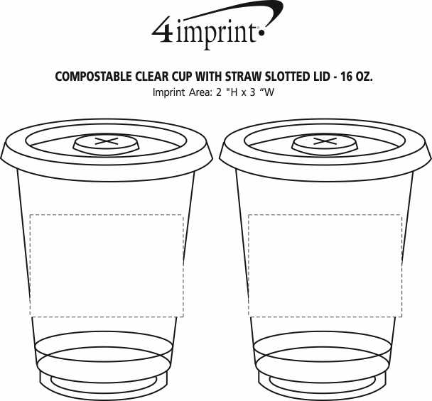 Imprint Area of Compostable Clear Cup with Straw Slotted Lid - 16 oz.