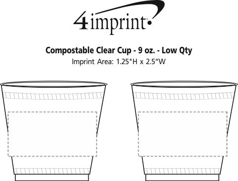 Imprint Area of Compostable Clear Cup - 9 oz. - Low Qty