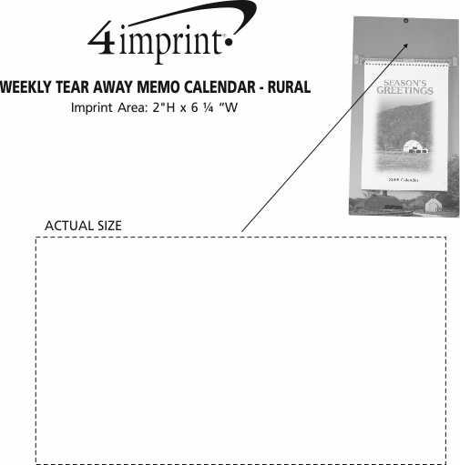 Imprint Area of Weekly Tear Away Memo Calendar - Rural