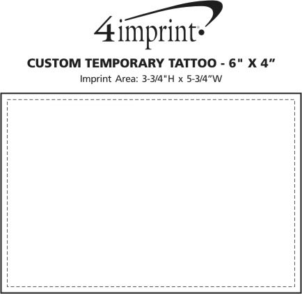 "Imprint Area of Custom Temporary Tattoo - 6"" x 4"""