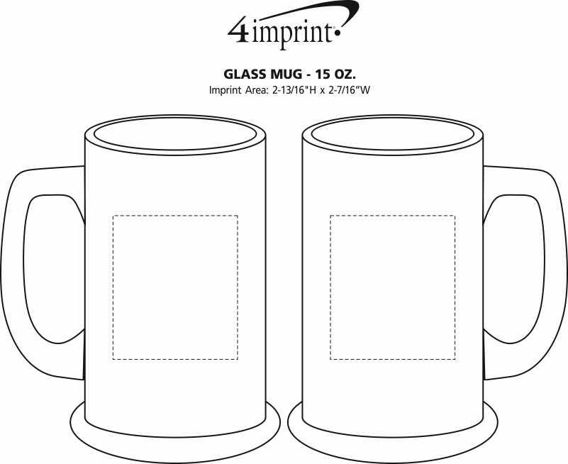 Imprint Area of Glass Tankard Mug - 14.5 oz.