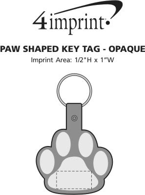 Imprint Area of Paw Shaped Keychain - Opaque