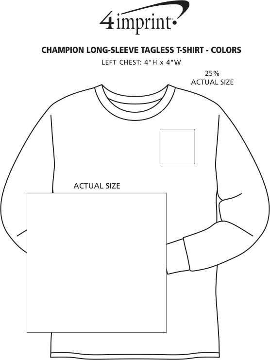 Imprint Area of Champion Long-Sleeve Tagless T-Shirt - Colors