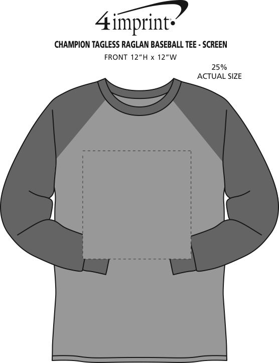 Imprint Area of Champion Tagless Raglan Baseball Tee - Screen