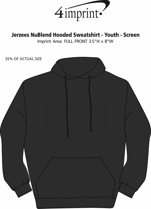 Imprint Area of Jerzees NuBlend Hooded Sweatshirt - Youth - Screen