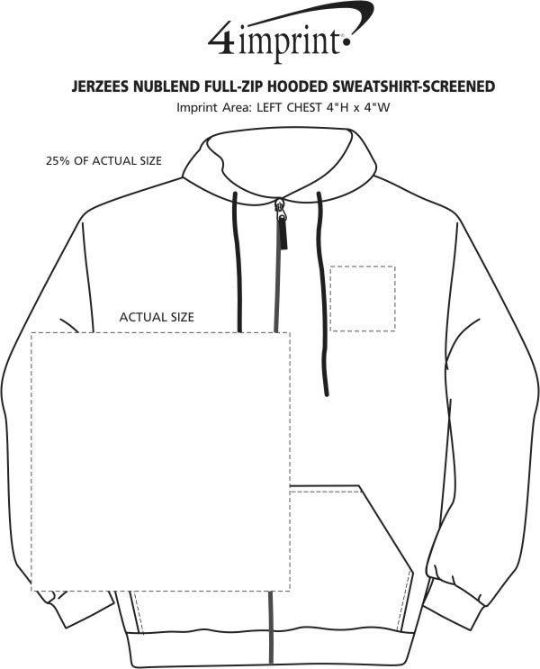 Imprint Area of Jerzees NuBlend Full-Zip Hooded Sweatshirt - Screen