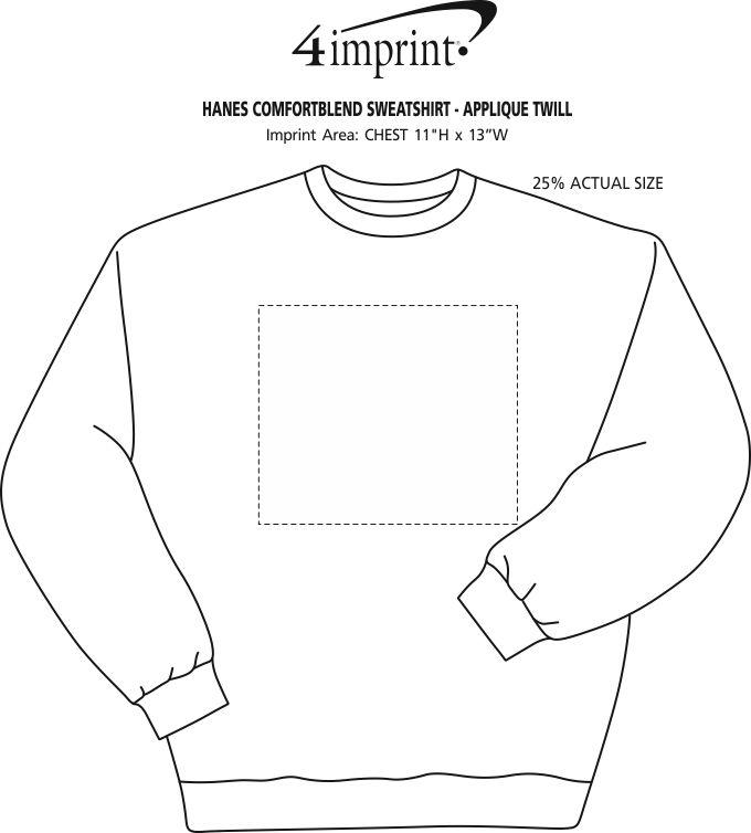 Imprint Area of Hanes ComfortBlend Sweatshirt - Applique Twill