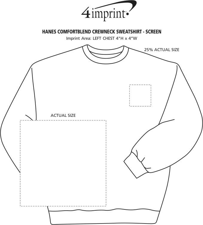 Imprint Area of Hanes ComfortBlend Sweatshirt - Screen