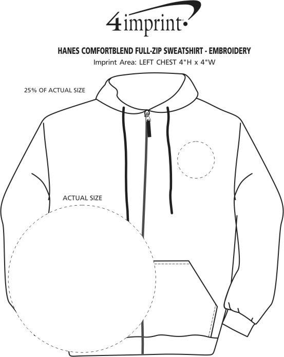 Imprint Area of Hanes ComfortBlend Full-Zip Sweatshirt - Embroidered