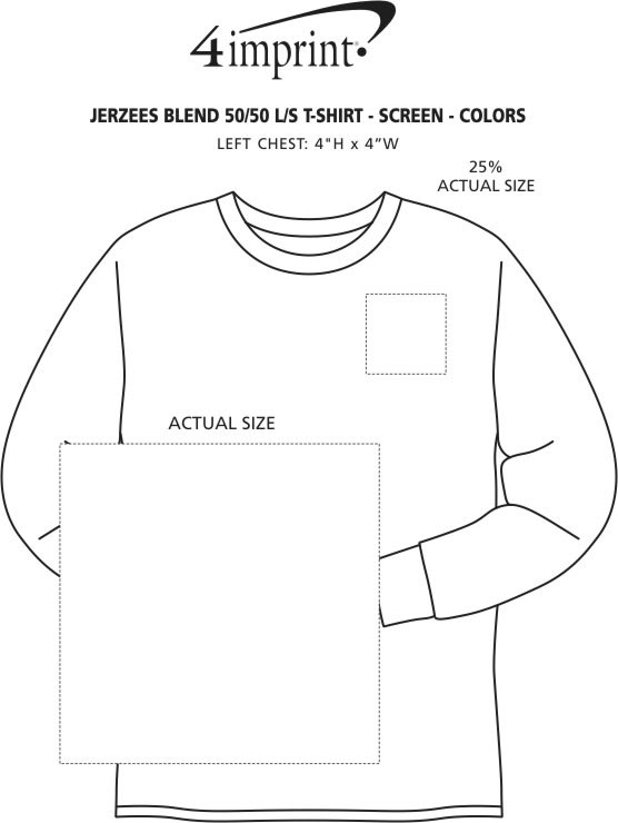 Imprint Area of Jerzees Dri-Power 50/50 LS T-Shirt - Colors - Screen