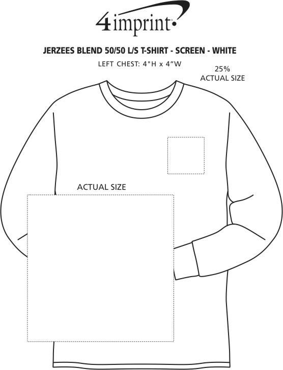Imprint Area of Jerzees Dri-Power 50/50 LS T-Shirt - White - Screen