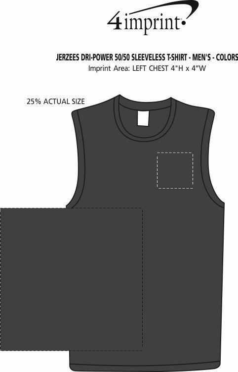 Imprint Area of Jerzees Dri-Power 50/50 Sleeveless T-Shirt - Men's - Colors
